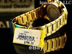 Le 45mm Invicta Spécialité Chronographe 18k Plaqué Or Cadran Bleu Ss Montre