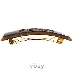 Logos Fendi Arch Barrette Brown Plastic Gold Plaqué Vintage France Auth #dd94 M