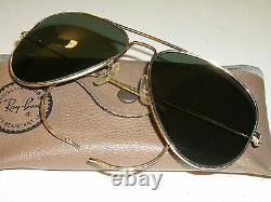 Lunettes De Soleil Aviator Plaquées Or 58mm 1960's Vintage B&l Ray Ban USA Medium G15 Gold Plaqué
