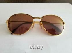 Lunettes De Soleil Vintage Cartier 18k Gold Plated Sapphire 57-18