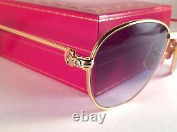 Lunettes De Soleil Vintage Cartier Louis 2x Diamonds 55mm 18k Heavy Gold Plaqué France