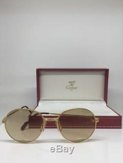 Lunettes De Soleil Vintage Cartier Louis Ronde Cadre Plaqué En Or 18 Carats Des Années 1980 France