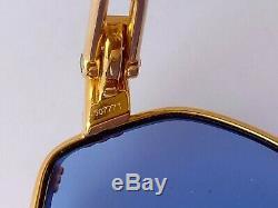 Lunettes De Soleil Vintage Fred Cythere Blue Unisexe 55-16 Plaqué Or, Excellent