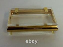 MID Century Perspex Lucite & Gold Plated Metal Hollywood Regency Brinket / Boîte