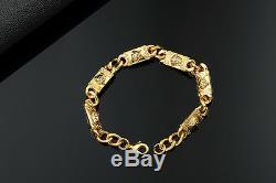 Medusa Or 18k Luxe Vintage Fils Verticaux Chaînes 3d Bricolage Bracelet Lettres