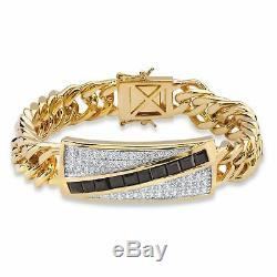 Men 1,70 Tcw Véritable Onyx Et Cz 14k Bracelet Plaqué Or 8