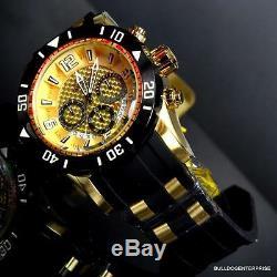 Mens Pro Diver III Invicta 50 MM Chronographe En Or 18 Kt Plaqué Black Watch Nouveau