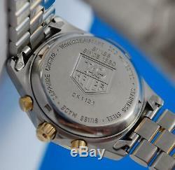 Mens Tag Heuer 2000 Plaqué Or 18 Carats Et Ss Montre Chronographe Cadran Blanc Ck1121