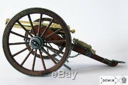 Métal Plaqué Par Or 24k Cannon De Guerre Civile Construit Modèle 9.8 Artillerie De Campagne Des Etats-unis 1857