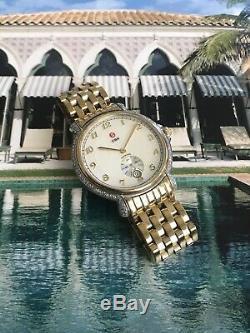 Michele Csx 94 Diamant 0.55ct Gold Plate Tw Ladies18kt Ss Montre W Box & Mots Mint