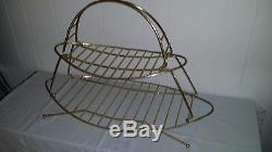 Milieu Du Siècle Moderne Vintage Longboard Magazine Porte-serviettes Porte-serviettes En Laiton Plaqué
