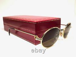 Mint Vintage Cartier St Honore 49mm Gold Brown Lentilles Lunettes De Soleil France 18k