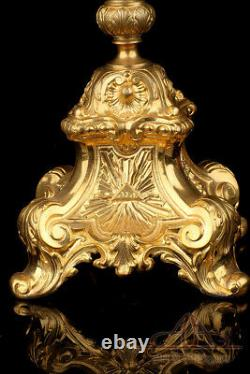 Monstrance Antique En Métal Plaqué Or Bejeweled. Début Du Xxe Siècle
