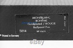 Montblanc Boheme Solitaire Plaqué Or Rouge Stylo À Bille 5814 Nouvelle Boîte France