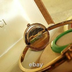 Montre Lunette Interchangeable Femme Gucci 1100-l 18k Plaqué Or 26 MM (nr749)