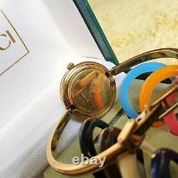 Montre Lunette Interchangeable Femme Gucci 1100-l 18k Plaqué Or 26 MM (nr753)