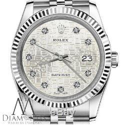 Montre Rolex Pour Homme En Argent, Jubilé, Argent Et Diamants, Datejust 36 Mm, 18k & Ss