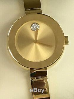 Movado Gras 3600201 Cadran Champagne Plaqué Or Ion Mesdames Quartz Garantie
