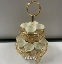 New Gold Plateau De Fruits Secs Portion Secs Noix Plaque Compartiment Snack Dish Couvercle 12pc