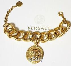 New Versace Plaqué Or Chaîne En Métal Méduse Bracelet