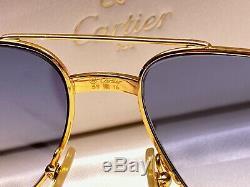 New Vintage Cartier Santos Vis 59mm Lunettes De Soleil Bleu France 18k Plaqué Lourd