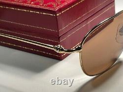 New Vintage Cartier Vesta Or 56mm Lunettes De Soleil France 18k Plaqué Lourd