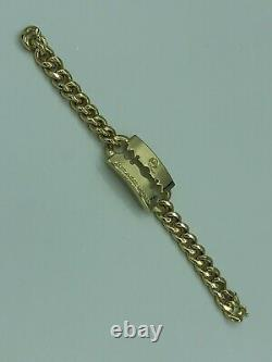 Nouveau Logo Alexander Mcqueen Razor Heavy Gold Tone ID Plate Chain Link Bracelet 8