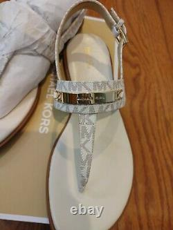 Nouveau Michael Kors Thong Sandal Mk Vanilla Mini Logo La Plaque Ryder Gold Nouvelle Boîte