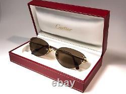 Nouveau Vintage Cartier Condotti Cat Eye Rimless Gold Plaqué 18k Lunettes De Soleil France