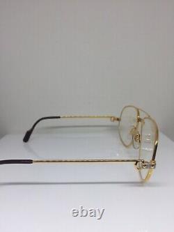 Nouveau Vintage Cartier Romance Santos Lunettes Plaqué Or T8100018 61mm France