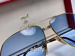 Nouveau Vintage Cartier Santos Vis Lunettes De Soleil 62mm Bleu France 18k Heavy Plaqué