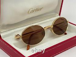 Nouveau Vintage Cartier Spider 50mm Brossed Gold Lentilles Marron Lunettes France 18k