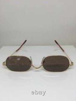 Nouvelles Lunettes De Soleil Vintage Cartier Orfy Thin Rim Frame 18k Gold Plaqué 1990s France