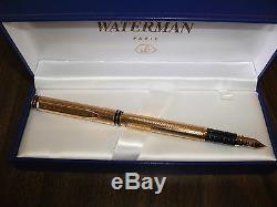 Or Waterman Exclusif Plaqué Or 18 Carats Stylo Plume Moyenne Pt Neuf Dans La Boîte