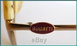 Original Vintage Bugatti Gold Plaqué & Corne Aviateur Ovale Lunettes De Soleil 1980