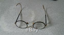 Paire De Vintage / Retro Métal Ronde Spectacles- Cadres Mince Plaqué Or 3