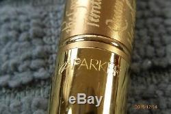 Parker Le Duofold Adhésion 23k Plaqué Or Avec Inscription Fountain Pen