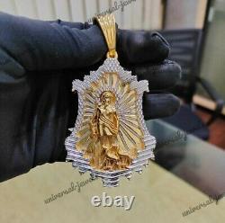 Pendentif De Personnalisation Pour Hommes Jesus Face Solid Metal 14k Yellow Gold Plaqué