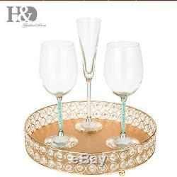 Perle En Cristal Doré, Assiette De Présentoir À Gâteau, Fête D'anniversaire De Mariage En Métal