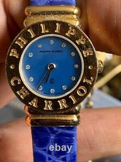 Philippe Charriol Diamond Blue Dial Watch 18k Gold Plaqué 7007901