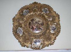 Plaque Murale Chargeur De Style Rococo En Métal Doré, Registrado, Angels Chérubins Et Jeune Fille