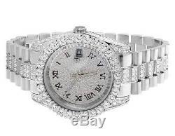 Plaqué Or Blanc Hommes Bijoux Acier Illimités 40mm Simulé Diamond Watch