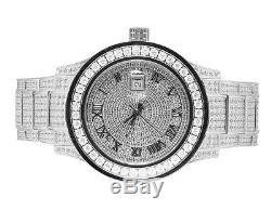 Plaqué Or Blanc Hommes Bijoux Acier Illimités 45mm Simulé Diamond Watch