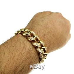 Plaqué Or De Mens Hip Hop Bracelet Cubain Iced Bling 8 Pouces X 19mm Lourd