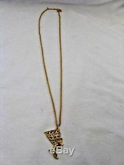 Plaqué Or Égyptien Collier En Métal Néfertiti Chaîne 1.5 Grande Qualité