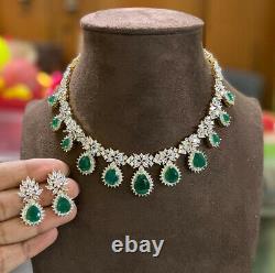 Plaqué Or Indien Bollywood Cz Bijoux Ad Collier Boucles D'oreilles Vert Émeraude Set