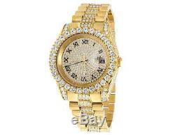Plaqué Or Jaune Hommes Bijoux Acier Illimités 40mm Simulé Diamond Watch