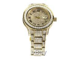Plaqué Or Jaune Hommes Bijoux Acier Illimités 45mm Simulé Diamond Watch
