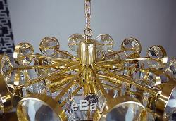 Plaqué Or Palwa Chandelier Bulles Pendentif Lampe Verre En Cristal, Allemagne, 1960s