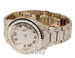 Plaqué Or Rose Hommes Bijoux Acier Illimités 45mm Simulé Diamond Watch